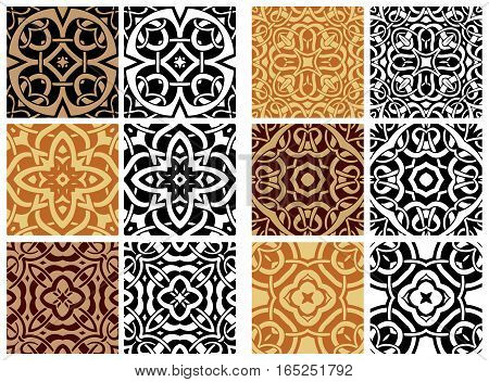 Big set elements for seamless vector patterns. Floral geometric ornament. Endless texture for wallpaper, surface textures, pattern fills, web page background