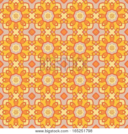 Vector seamless vintage pattern. Floral geometric ornament. Endless texture for wallpaper, surface textures, pattern fills, web page background
