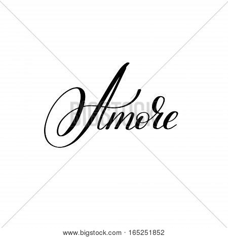 amore hand written lettering to Valentine's Day design, calligraphy vector illustration