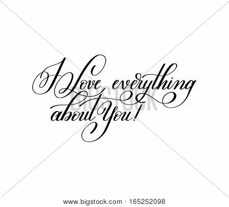 i love everything about you hand written lettering to Valentine's Day design, calligraphy vector illustration