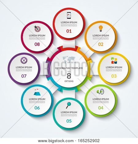 Infographic diagram with 8 options. Vector template what can be used as circular chart, numbered banner, workflow layout, graph, report, presentation, web design.