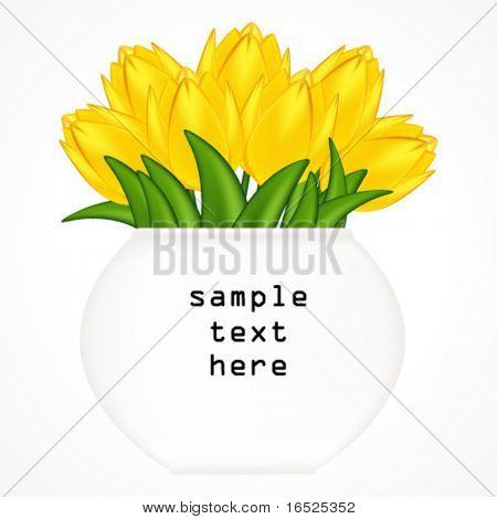 Vector illustration of bright tulips. Gradient meshes.