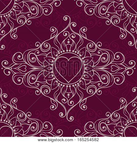 Sketch Of Tattoo Henna Hearts. Seamless Pattern