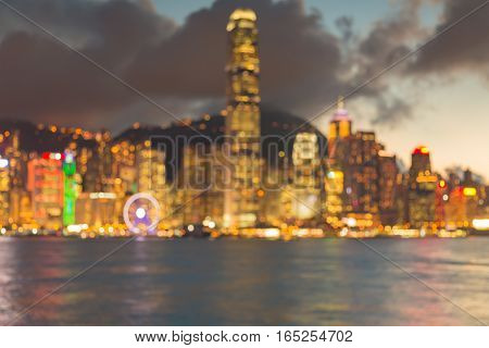 Night blurred lights Hong Kong central business building port abstract background