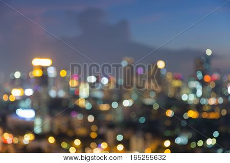 Abstract blurred bokeh city downtown lights night view