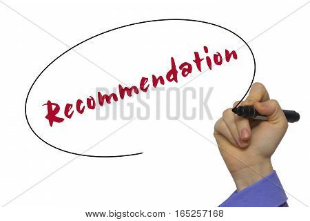 Woman Hand Writing Recommendation On Blank Transparent Board With A Marker Isolated Over White Backg