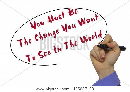 Woman Hand Writing You Must Be The Change You Want To See In The World  On Blank Transparent Board W