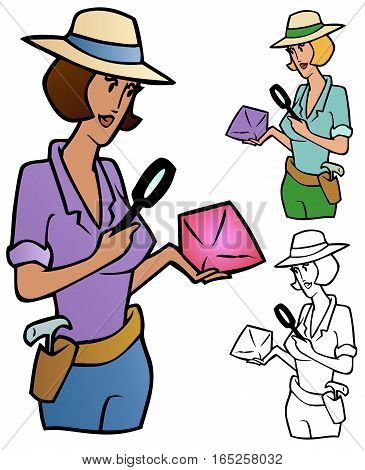 Woman examining a rock with a magnifying glass, with variations.