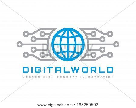 Digital world - vector business logo template concept illustration. Globe abstract sign and electronic network. Technology design elements.