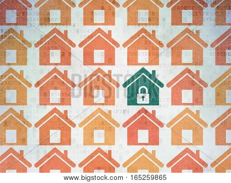 Safety concept: rows of Painted orange home icons around green home icon on Digital Data Paper background