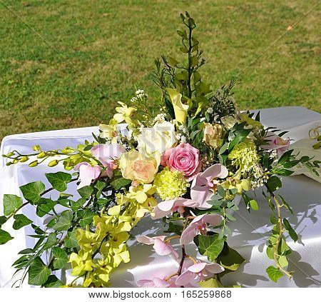 Closeup view of a bridal bouquet on the table
