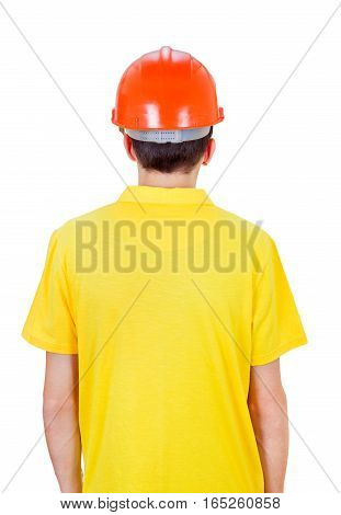 Man Rear View in Hard Hat Isolated on the White Background