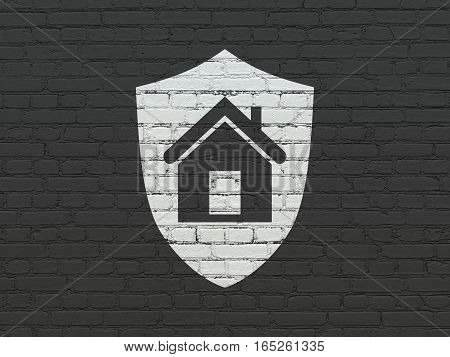 Finance concept: Painted white Shield icon on Black Brick wall background