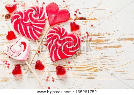 Valentine's day concept - sweets heart shaped, top view