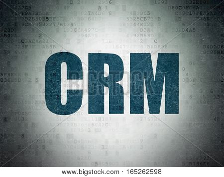 Finance concept: Painted blue word CRM on Digital Data Paper background