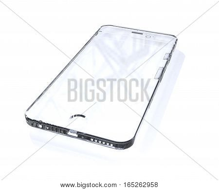 Isolated light glass phone over white background