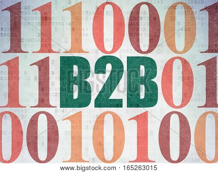 Finance concept: Painted green text B2b on Digital Data Paper background with Binary Code