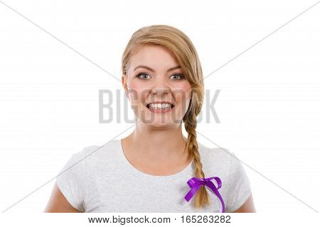 Face expression adolescence problems concept. Teenage girl in blonde braid hair making angry face.