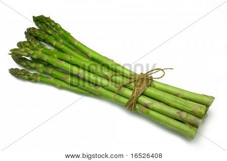 Asparagus spears tied in a bunch with twine (string), isolated on white