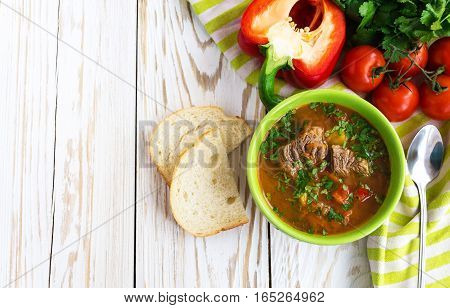 Caucasian Lamb Or Beef Shurpa Soup With Vegetables