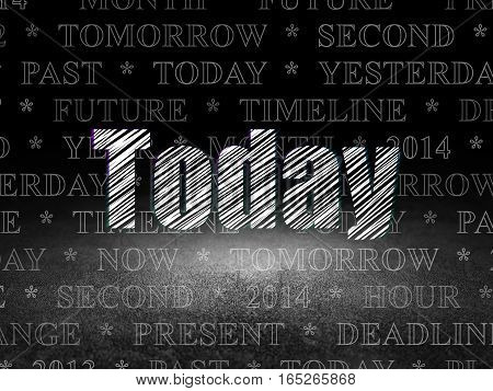 Time concept: Glowing text Today in grunge dark room with Dirty Floor, black background with  Tag Cloud