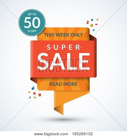 Super sale banner. Discount label. Special offer vector template. Up to 50 percent off badge or tag. Half price colorful sticker. Shopping background