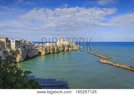 Gargano coast: bay of Vieste.-(Apulia) ITALY-Panoramic view of the old city.The medieval center perches on a small rocky peninsula:in the background the church of San Francesco.