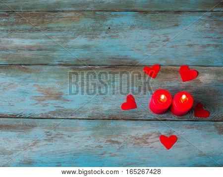 Valentines day background with hearts. Top view. Free space for text.