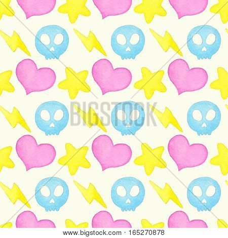 Heart lightning star skull. Seamless pattern with hand drawn cute objects on the light pink background. Real watercolor drawing