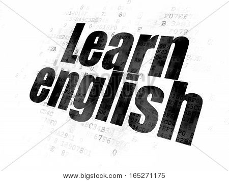 Education concept: Pixelated black text Learn English on Digital background