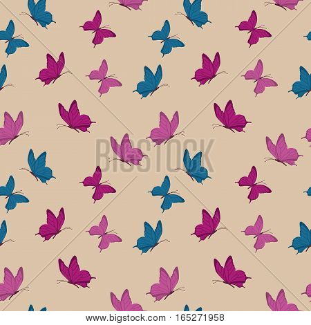 Retro seamless pattern with butterflies. Vintage design in violet colors. Background in flat style. Vector illustration.