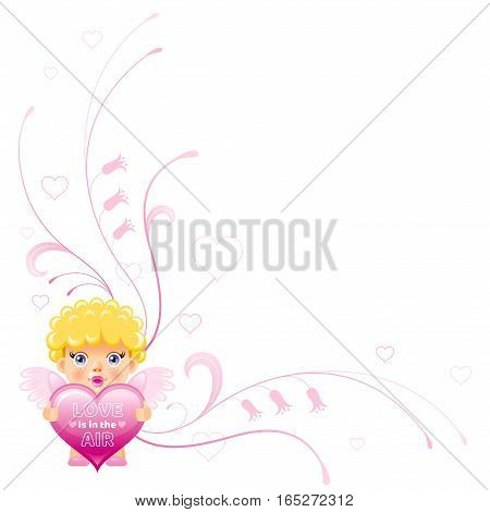 Happy Valentines day border, Cupid boy angel. Romance, love text letters, isolated frame on white background. Cute romantic Valentine corner vector illustration. Abstract holiday design. Flat cartoon