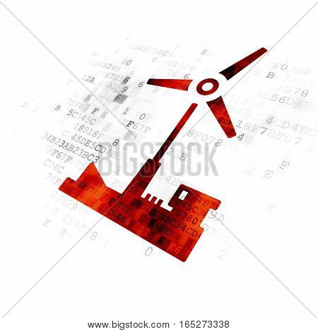 Industry concept: Pixelated red Windmill icon on Digital background