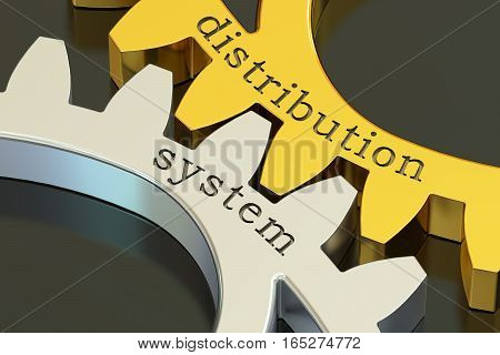 distribution system concept on the gearwheels 3D rendering