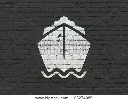 Travel concept: Painted white Ship icon on Black Brick wall background