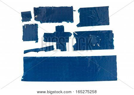 Collection of used blue duct tape pieces