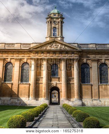 Oxford, UK - April 30, 2016: Queen's College Oxford UK. Main quad