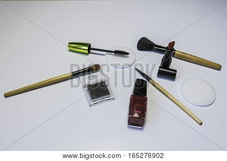 Cosmetic Tools and products on a white background