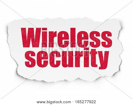Safety concept: Painted red text Wireless Security on Torn Paper background with  Binary Code