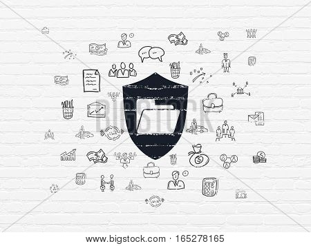 Business concept: Painted black Folder With Shield icon on White Brick wall background with  Hand Drawn Business Icons