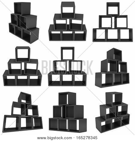 Product display boxes set. 3D render isolated on white. Platform or Stand Illustration. Template for Object Presentation.