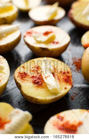 Raw Potato With Butter And Red Pepper