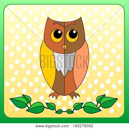 Cute cartoon owl in style on a cheerful yellow background with an ornament in the form of eggs. A beautiful illustration of a frame in green with green leaf monogram below.