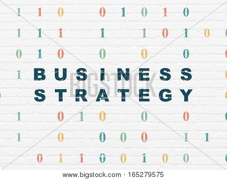 Finance concept: Painted blue text Business Strategy on White Brick wall background with Binary Code