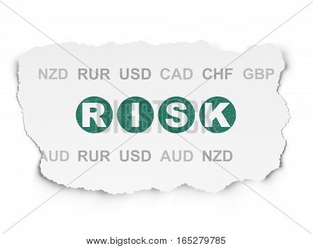 Business concept: Painted green text Risk on Torn Paper background with  Currency