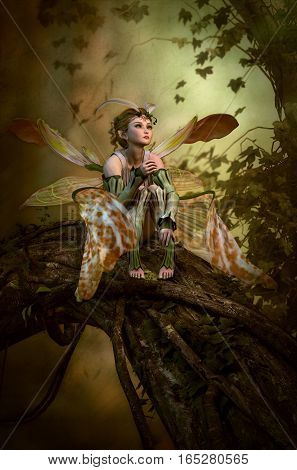 3D computer graphics of a fairy with butterfly wings sitting on a tree trunk