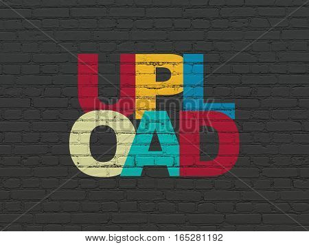 Web design concept: Painted multicolor text Upload on Black Brick wall background