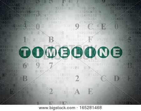 Time concept: Painted green text Timeline on Digital Data Paper background with Hexadecimal Code