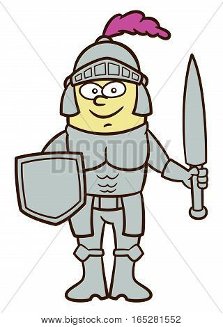 Knight Cartoon Character Isolated on White Background