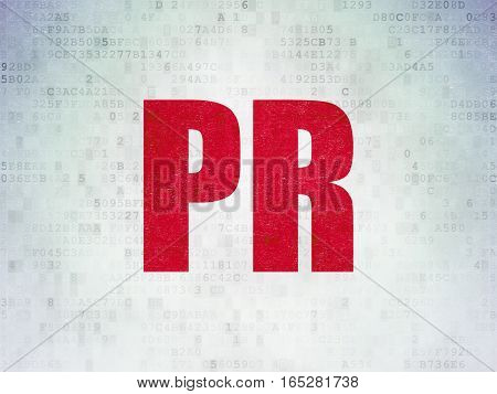 Marketing concept: Painted red word PR on Digital Data Paper background